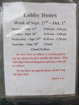 lobby hours sign