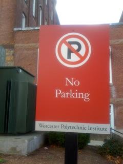 Parking sign at WPI