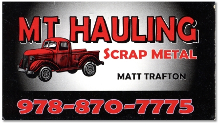 MT Hauling business card