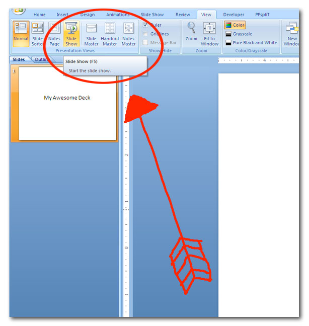 slide show view in powerpoint