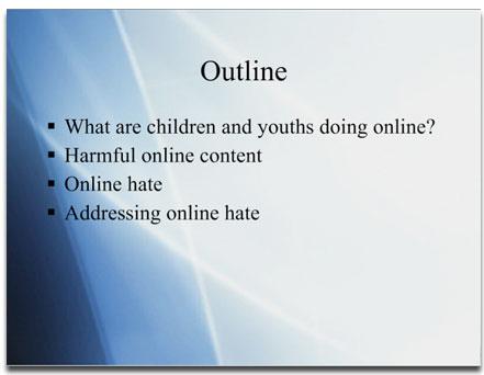 """Original """"online hate"""" slide"""