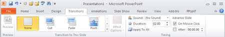 PowerPoint transitions ribbon