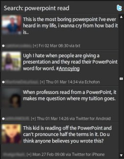 Tweets about boring PowerPoint
